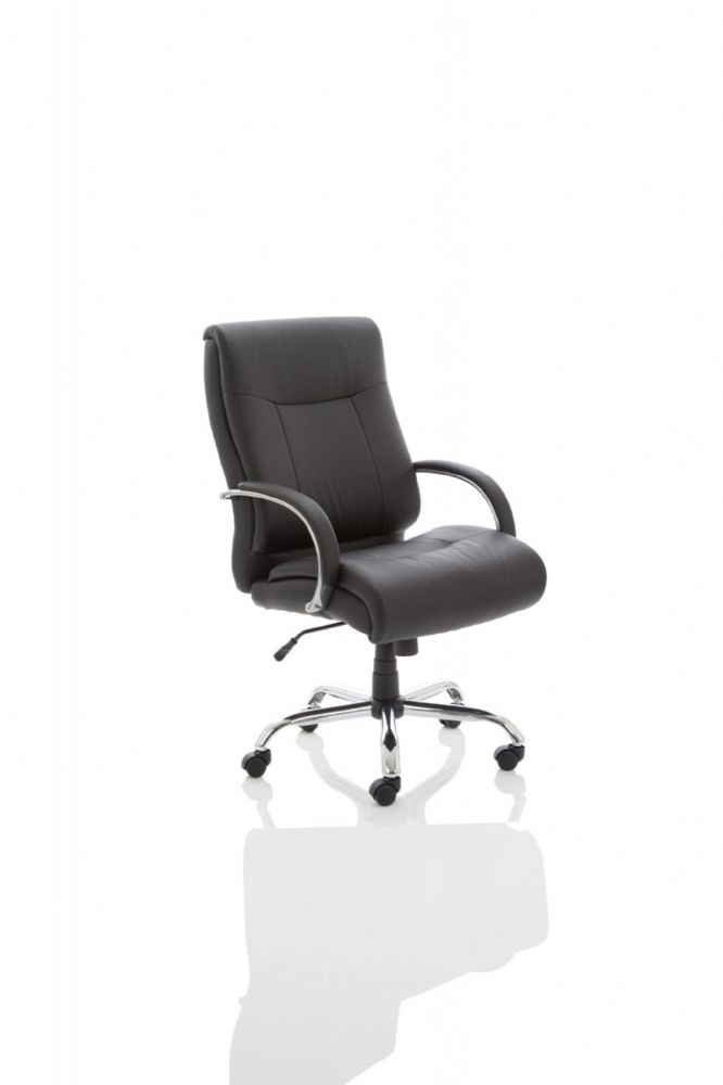 Drayton Heavy Duty Executive Chair Task 24 Hr usage Fixed Padded Arms Black Bonded Leather